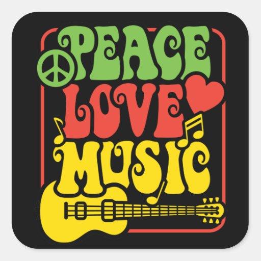 Música del amor de la paz de Rasta Colcomanias Cuadradas
