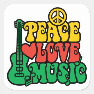 Música del amor de la paz del reggae colcomanias cuadradas