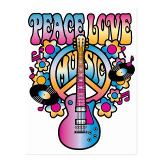 Música del amor de la paz postal