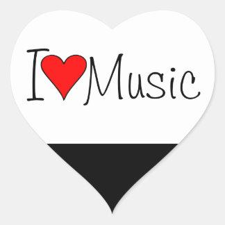 Música del corazón I Pegatina En Forma De Corazón