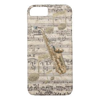 Música floral del saxofón y del oro de la funda para iPhone 8/7