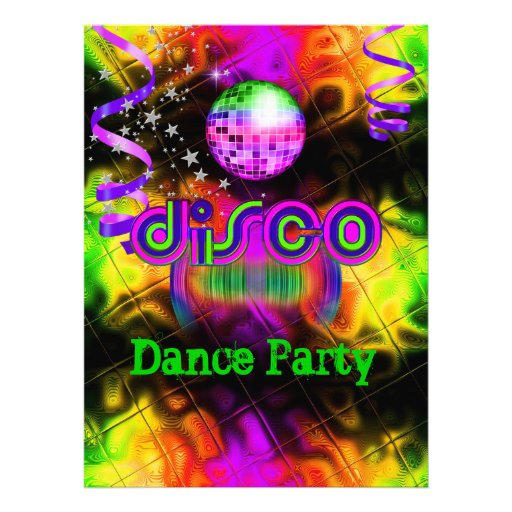 Música psicodélica del baile del disco invitacion personal