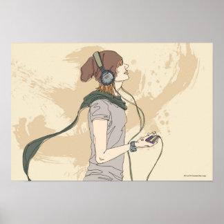 Música que escucha de la mujer joven póster