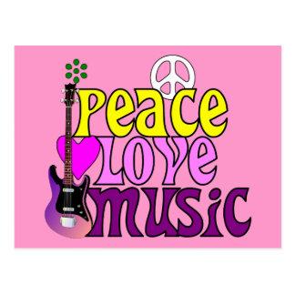 Música retra del amor de la paz de los años 70 postal
