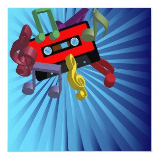 Música retra invitación 13,3 cm x 13,3cm
