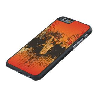 Música, saxofón con grunge funda de iPhone 6 carved® de arce