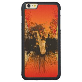 Música, saxofón con grunge funda para iPhone 6 plus de carved® de nogal