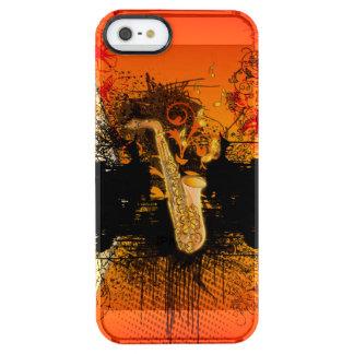 Música, saxofón con grunge funda transparente para iPhone SE/5/5s