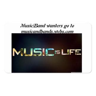 música y banda tarjetas de visita