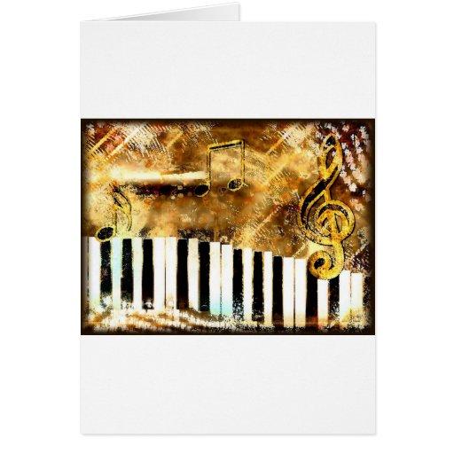 Música y notas elegantes del piano tarjeta