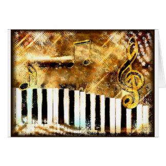 Música y notas elegantes del piano tarjeta de felicitación
