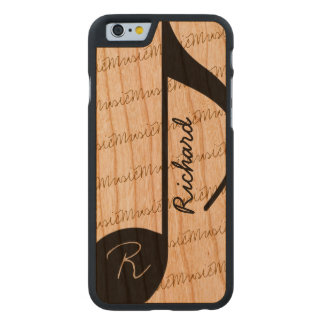 musical-nota negra personalizada estupendo-fresca funda de iPhone 6 carved® slim de cerezo