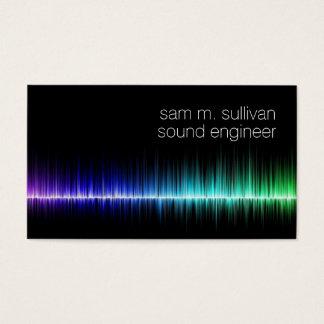 Músico colorido de la onda acústica del ingeniero tarjeta de negocios
