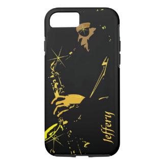 Músico de jazz en negro y amarillo funda iPhone 7