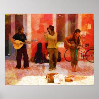 Músicos de la calle que tocan la mandolina y la póster