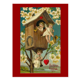 Músicos del Cupid en una casa del árbol Postal
