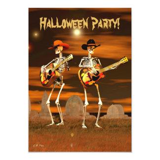 Músicos esqueléticos del fiesta de Halloween (del Invitación 12,7 X 17,8 Cm