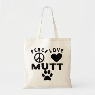 Mutt del amor de la paz bolsa tela barata