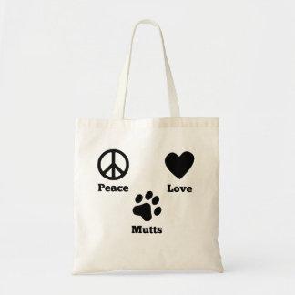 Mutts del amor de la paz bolsa tela barata