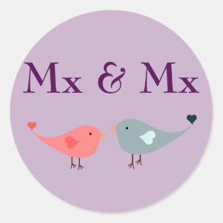 MX y MX (boda) Pegatina Redonda