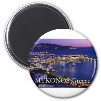 mykonos_night imán redondo 5 cm