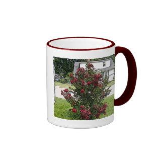 Myrtle rojo pintado Bush Taza De Dos Colores