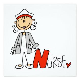 N está para la enfermera invitación 13,3 cm x 13,3cm