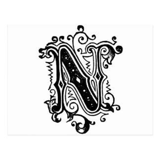 N - Letra decorativa Tarjetas Postales