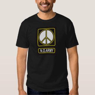N.O. Camiseta pacifista del antimilitarismo de la