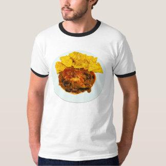 Nachos del queso de los chiles del pollo y de la camiseta