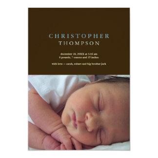 Nacimiento azul del bebé de la foto del marrón invitación 12,7 x 17,8 cm