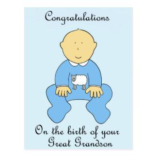 Nacimiento de grande - nieto, enhorabuena postal