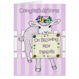 Nacimiento de la enhorabuena de los nuevos padres  felicitacion
