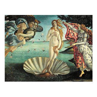 nacimiento del botticelli del venus postal