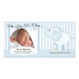 Nacimiento dulce del bebé del elefante tarjetas fotográficas