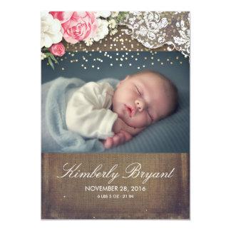Nacimiento floral del bebé de la foto del oro del invitación 12,7 x 17,8 cm