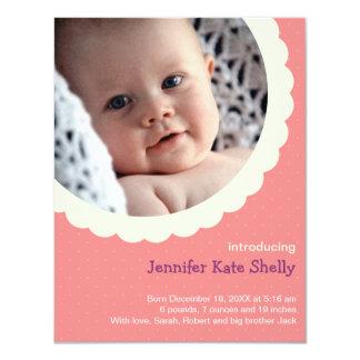 Nacimiento lindo del bebé de la foto del rosetón invitación 10,8 x 13,9 cm