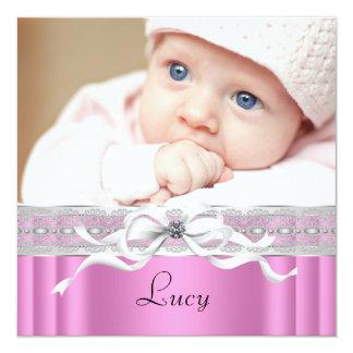 Nacimiento negro rosado de la foto de la niña de invitación 13,3 cm x 13,3cm