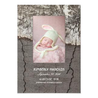 Nacimiento recién nacido de madera rústico de la invitación 12,7 x 17,8 cm