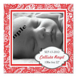 Nacimiento ROJO y fiesta de bienvenida al bebé de Invitación 13,3 Cm X 13,3cm