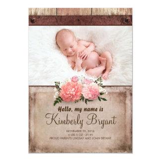 Nacimiento rústico de la foto de la niña de la invitación 12,7 x 17,8 cm