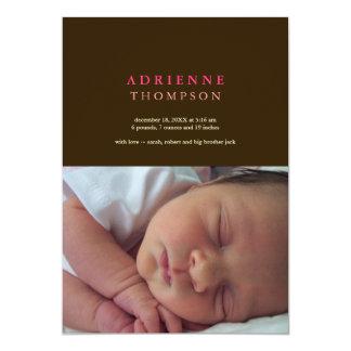 Nacimiento sólido del bebé de la foto del rosa del invitación 12,7 x 17,8 cm