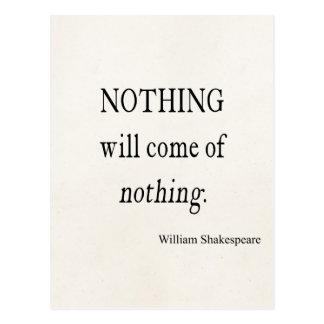 Nada vendrá nada cita de Shakespeare Postal