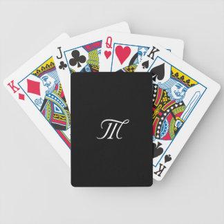 Naipe blanco y negro del monograma baraja de cartas bicycle