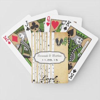 Naipe del regalo de boda de los pájaros del amor baraja de cartas bicycle