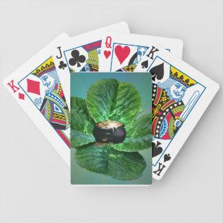 Naipe del trébol y de la mina de oro de cuatro hoj baraja cartas de poker