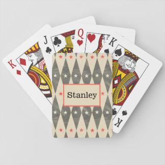 Naipe negro rojo personalizado monograma del póker barajas de cartas