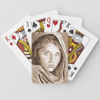 Naipes afganos del dibujo del chica del refugiado