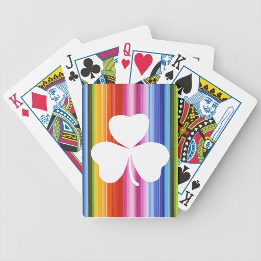 Naipes afortunados coloridos de los tréboles baraja de cartas