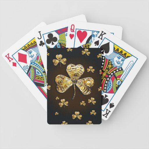 Naipes afortunados de los tréboles baraja cartas de poker